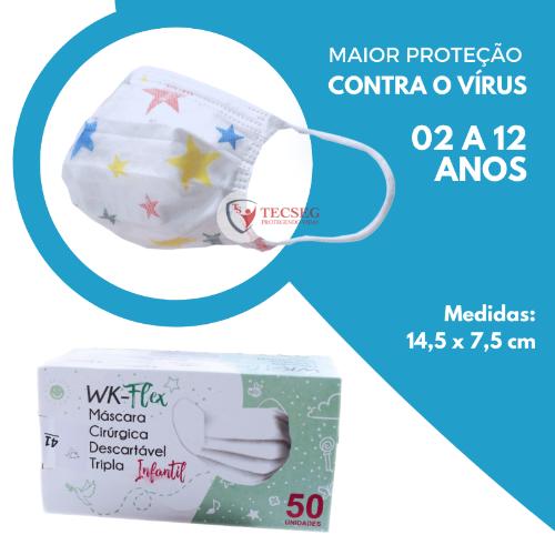 MASCARA INFANTIL DESC WORKFLEX TRIPLA CAMADA TNT ESTRELINHA CX 50