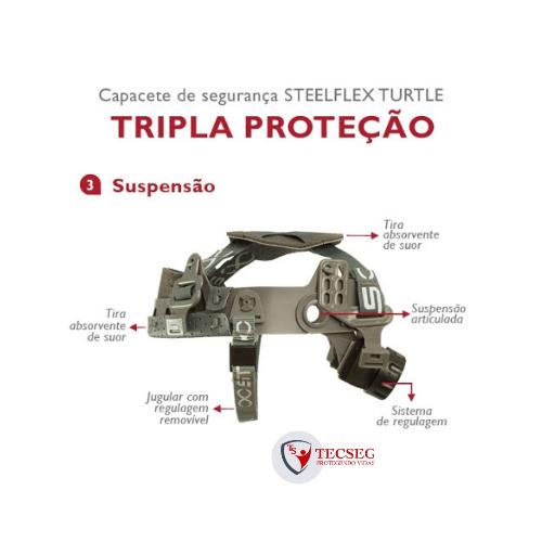 STF-CPCT10800 -  CAPACETE STEELFLEX TURTLE - C/ SUSPENSÃO DE CATRACA - CINZA - CA 35983