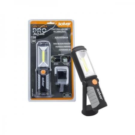 Lanterna Led Recarregável com Imã SLP-302 Pro 3w 300lm Bivolt SOLVER