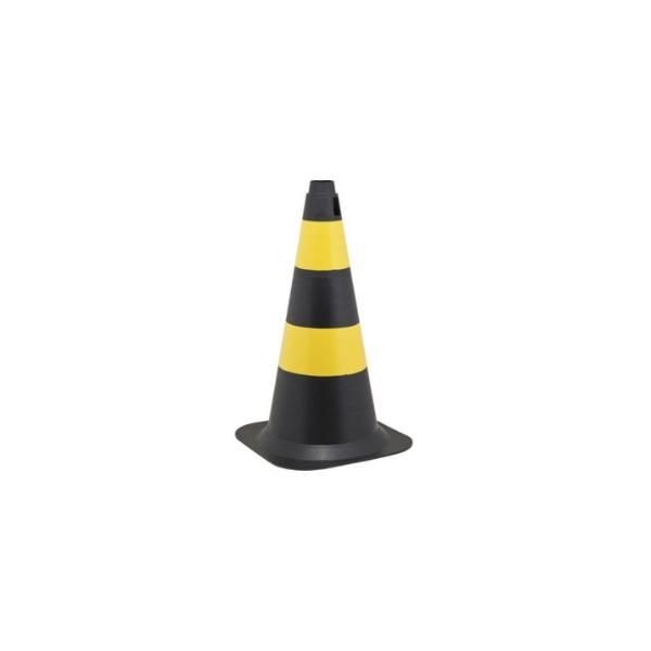 Cone de Sinalização 50cm Preto e Amarelo PE VONDER