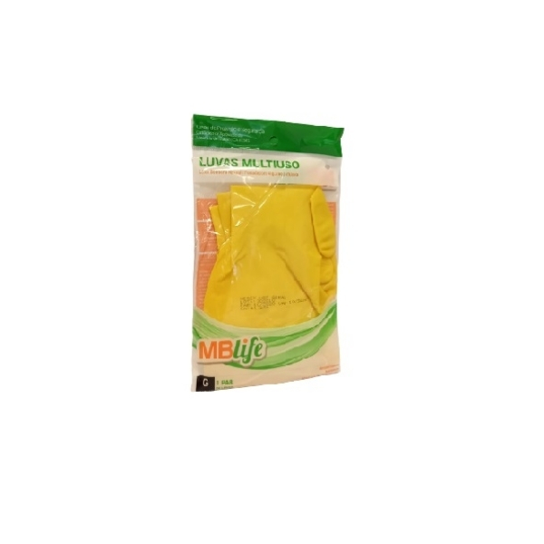 Luva Multiuso Latex Amarela MBLife Tamanho G 1par MEDIX