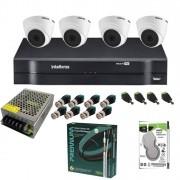 KIT Completo Intelbras 4 Câmeras VHL 1010 D + DVR 4 Canais MHDX 1104 + Acessórios + HD 500GB + Cabos