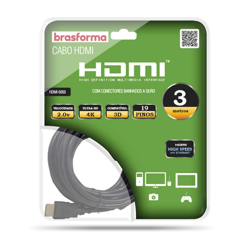 Cabo HDMI 3mt Brasforma  4K 3D 1080P