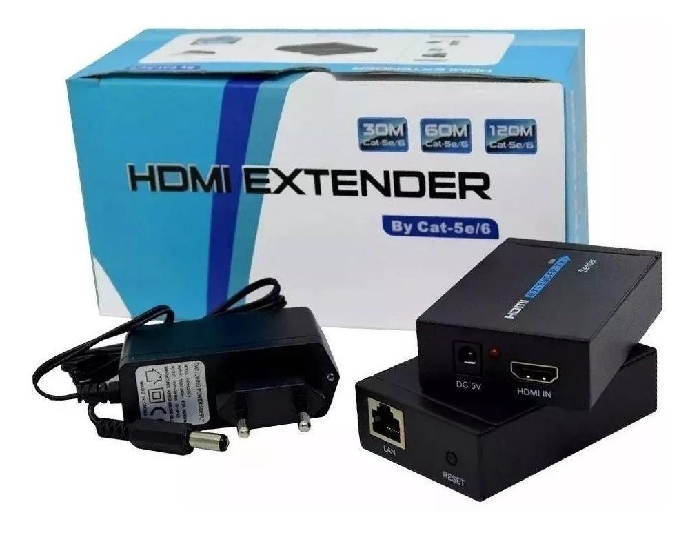 Extensor HDMI com Fonte 60mt Cabo de Rede