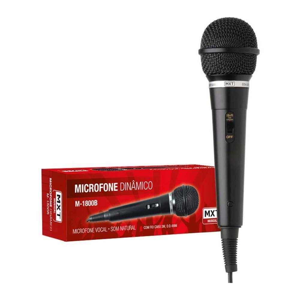 Microfone com fio Dinam. Plast M-1800B Preto