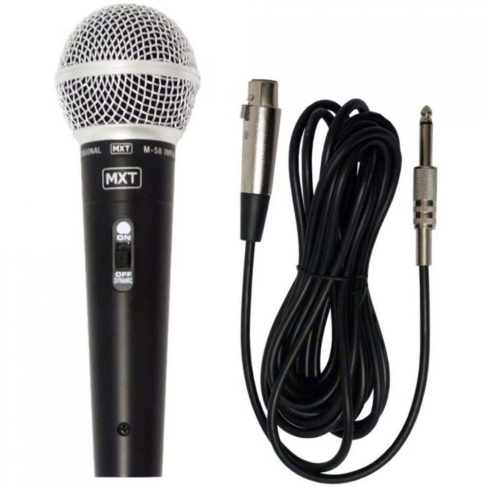 Microfone com fio Dinam. Plast M-58 Profissional Preto