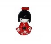 Boneca Japonesa Kokeshi De Madeira Vermelha 10cm - Kl