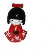 Boneca Japonesa Kokeshi De Madeira Vermelha 12cm - Kl