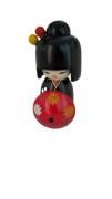 Boneca Kokeshi Preta Com Guarda Chuva - KL