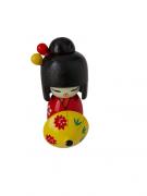 Boneca Kokeshi Vermelha Com Guarda Chuva - KL
