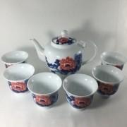 Conjunto Para Chá Oriental Em Porcelana 7 Peças