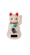 Gato Solar e Pilha Branco 12cm - KL