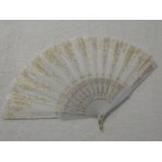 Leque De Tecido Branco Com Dourado - Modelo 1