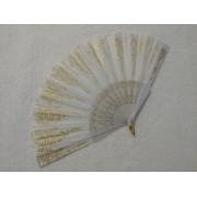 Leque De Tecido Branco Com Dourado - Modelo 3