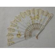 Leque De Tecido Branco Com Dourado - Modelo 6