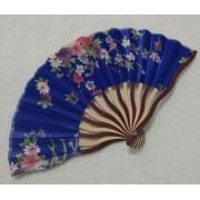 Leque Japonês Em Tecido Florido - Azul Royal