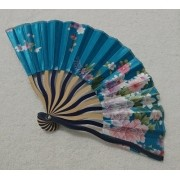Leque Japonês Em Tecido Florido - Azul Turquesa