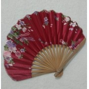 Leque Japonês Em Tecido Florido - Bordô