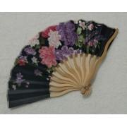 Leque Japonês Em Tecido Florido - Preto