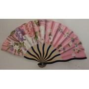 Leque Japonês Em Tecido Florido - Rosa