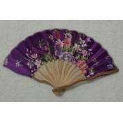 Leque Japonês Em Tecido Florido - Roxo