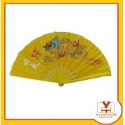 Leque Oriental Amarelo Dragão Dança Kung Fu