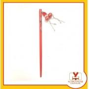 Palito Hashi Oriental Para Cabelo - Vermelho De Bolinha