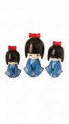 Trio Bonecas Kokeshi Japonesas De Madeira Azul KL