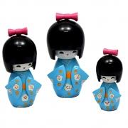 Trio Bonecas Kokeshi Japonesas De Madeira Azul Bebê KL