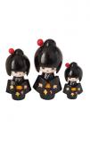 Trio Bonecas Kokeshi Japonesas De Madeira Preto 1 KL