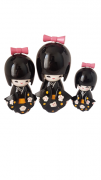Trio Bonecas Kokeshi Japonesas De Madeira Preto 2 KL