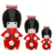 Trio Bonecas Kokeshi Japonesas De Madeira Vermelho KL