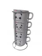 Xícara Torre com 4 Xícaras Panda