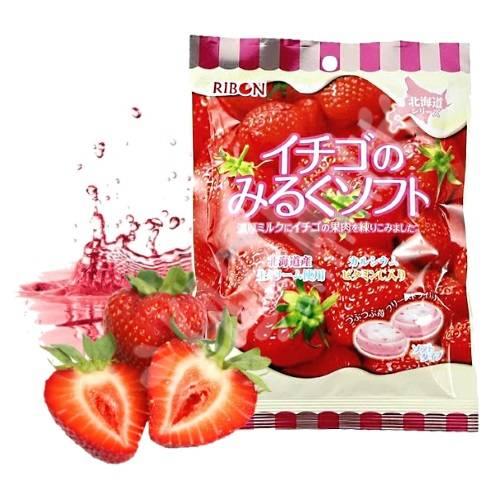 Bala de Leite Ribon Sabor Morango - Ichigo Milk Candy 63g