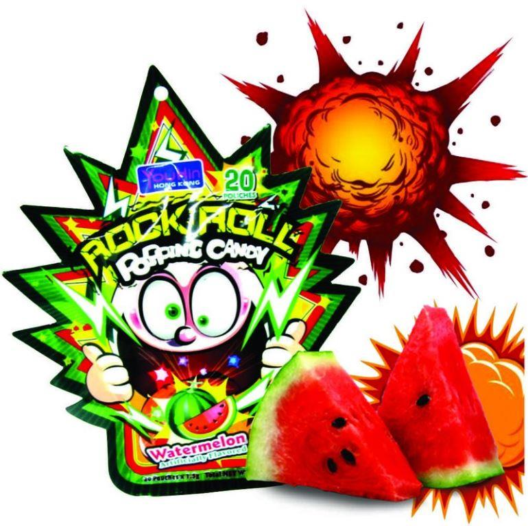 Bala Explosiva YuHin HK Sabor Melancia - Watermelon Rock Roll Popping Candy