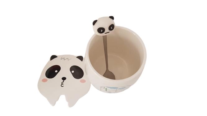Caneca Com Tampa Panda Com Colher - KL