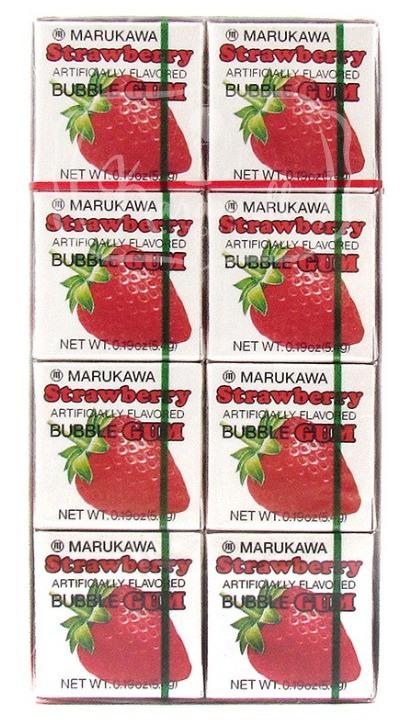 Chiclete Marukawa Sabor Morango - Bubble Gum Strawberry 8 unidades
