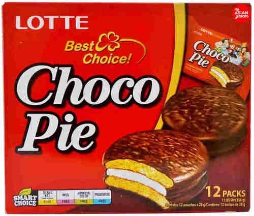 Choco Pie Bolo de Chocolate com Marshmallow 12 packs - Lotte 336g