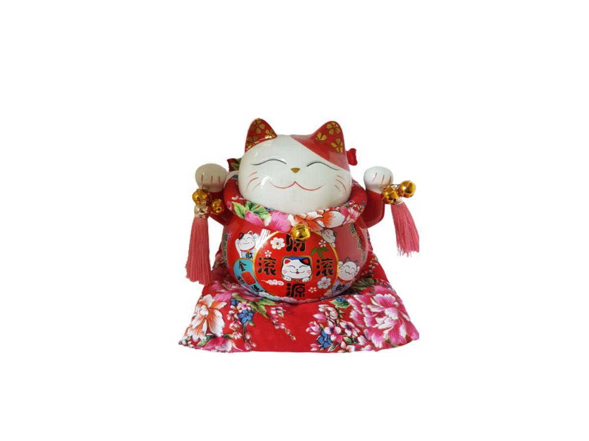 Cofre Gato da Sorte Maneki Neko Porcelana 20cm KL