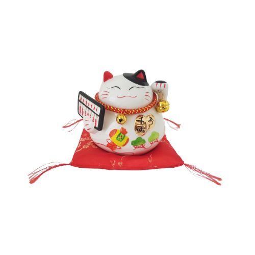 Cofrinho Gato da Sorte Maneki Neko Porcelana 10cm KL