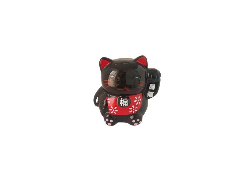 Cofrinho Gato da Sorte Preto Porcelana 9cm KL