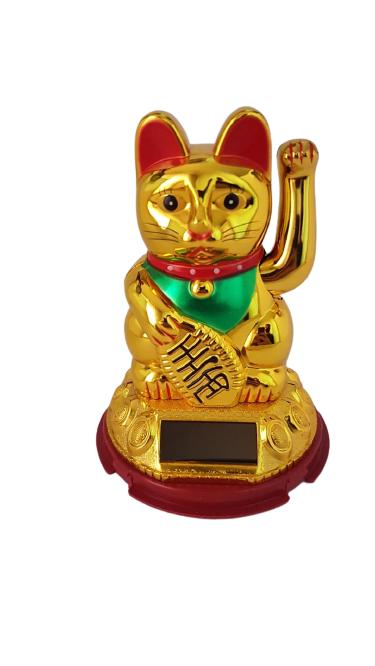 Enfeite Gato da Sorte Dourado 11cm - KL