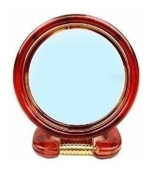 Espelho Mesa Aumento 3x Dupla Face Plástico Médio (marrom)