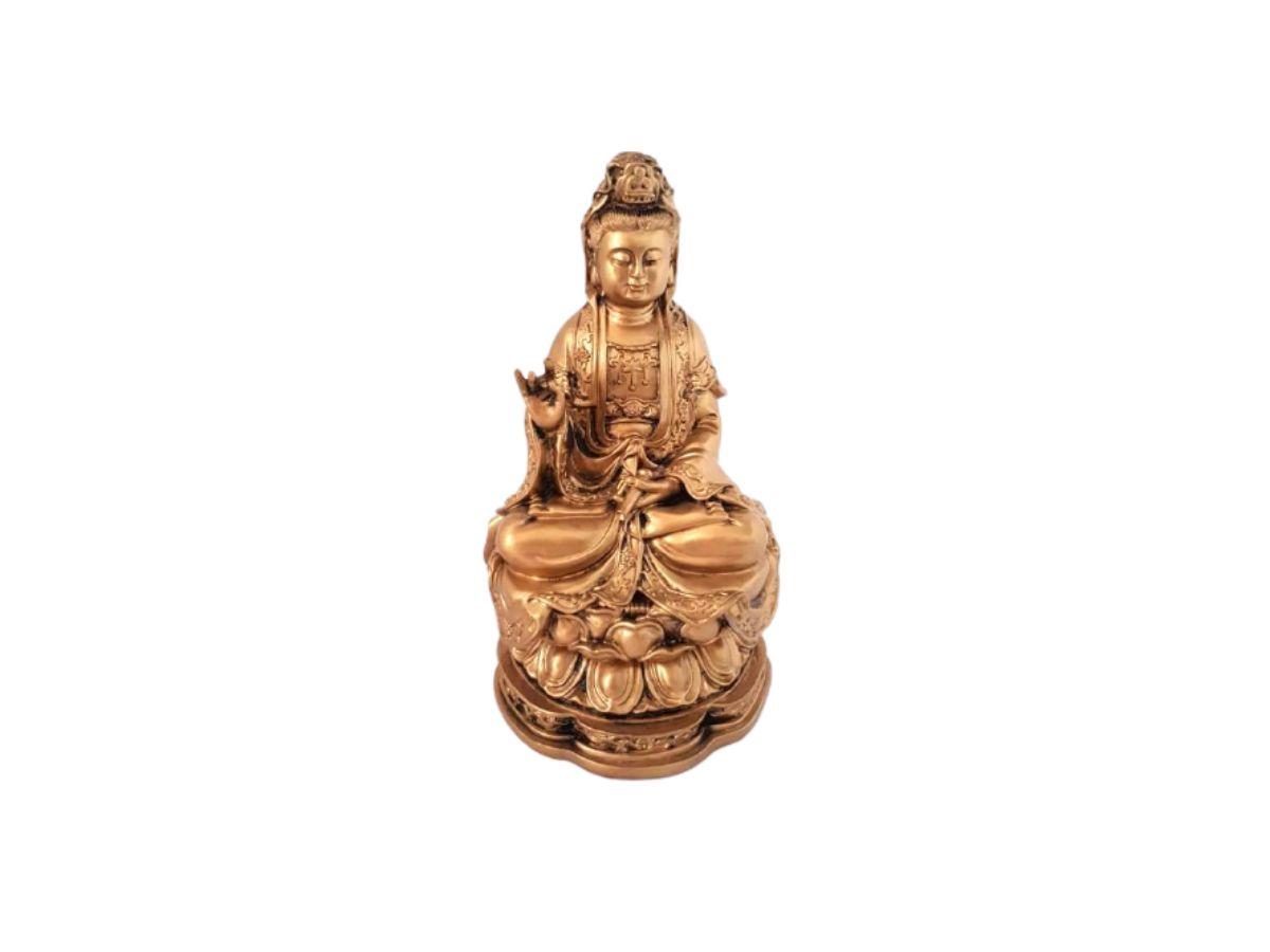 Estátua Buda Kuanyin Bronze Resina 16cm KL