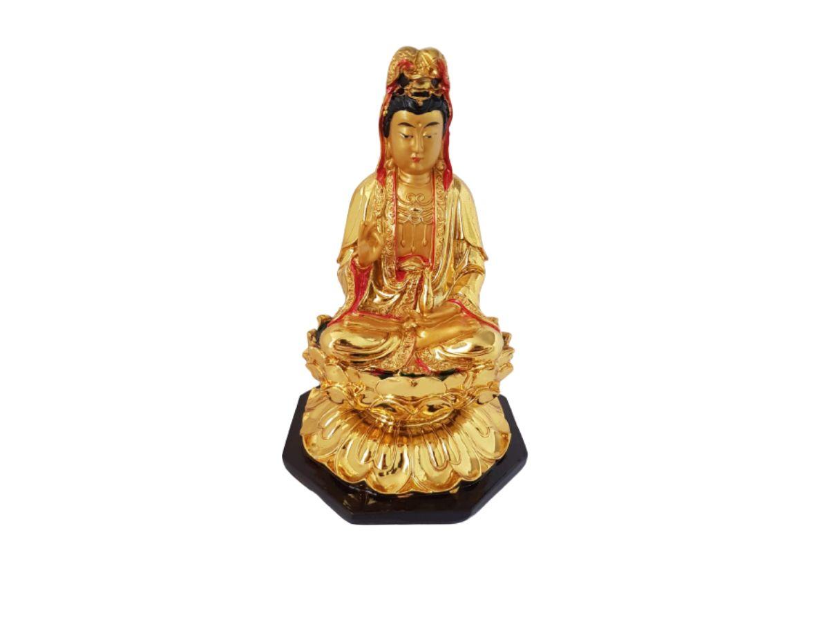 Estátua Buda Kuanyin Dourado Resina 19cm KL