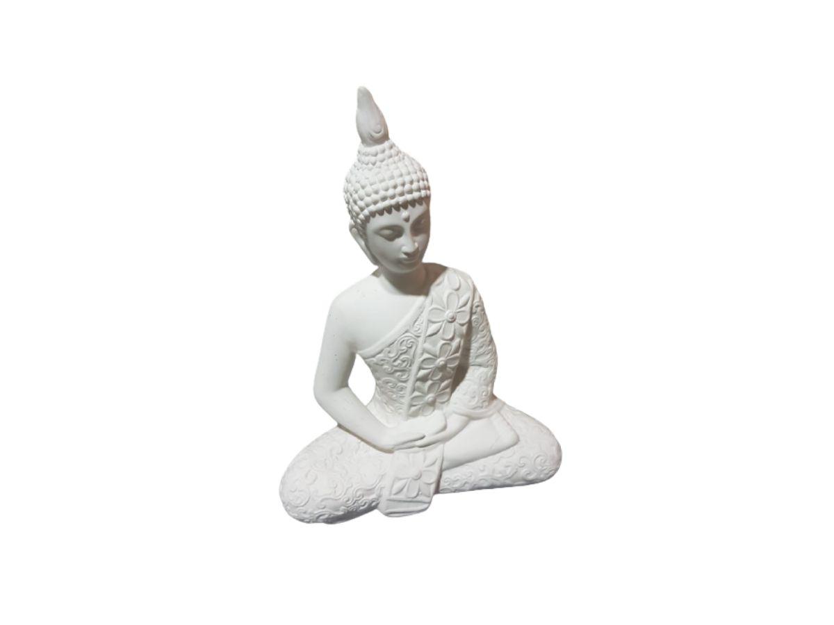 Estátua Buda Tibetano Branco Gesso 25 cm KL