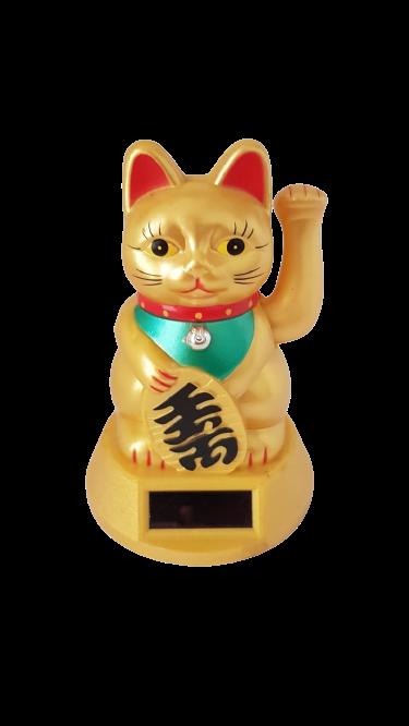 Gato Solar e Pilha Dourado 12cm - KL