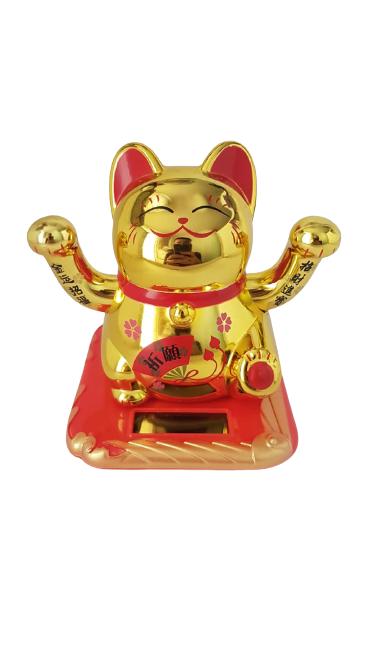 Gato Solar Meche os Braços Dourado - KL