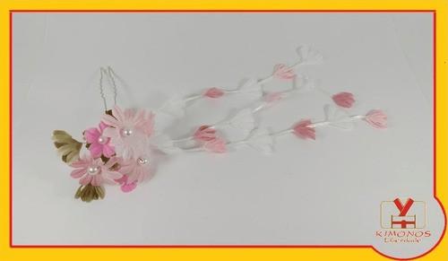 Kanzashi Arranjo De Cabelo Oriental Rosa