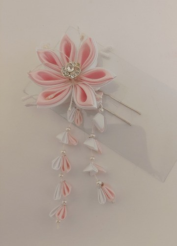 Kanzashi Arranjo De Cabelo Oriental Rosa - Modelo 3
